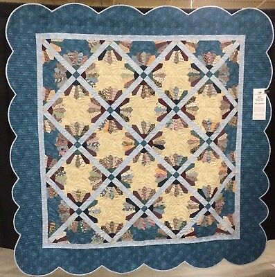 """Downton Abbey Quilt 94""""x94""""  Dresden Plate  Appliqué  Peiced Wool Batting Bed"""