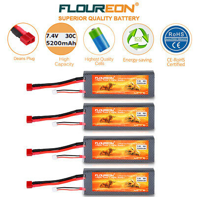4x 7.4V 5200mAh 2S 30C Lipo Battery Deans for RC Airplane Helicopter Car Drone