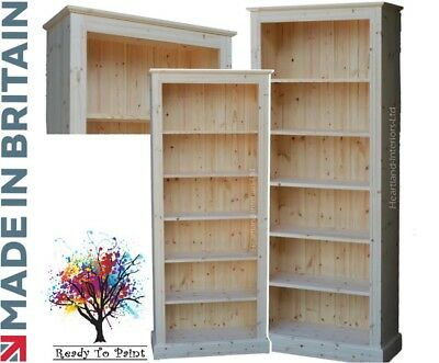 Solid Pine Bookcase; 6ft Hand-Crafted,Adjustable Display Shelving; ITW Bare Wood