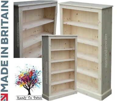 Solid Pine Bookcase, 5ft x 3ft Adjustable Display Shelving Unit in Bare Wood