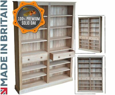 """Solid Oak Bookcase, 6ft 8"""" Tall Adjustable Butted Display Shelving with Drawers"""