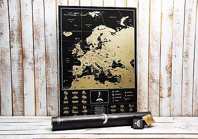 Deluxe Scratch Europe map - Best gift, large black map,Personal map, push pin