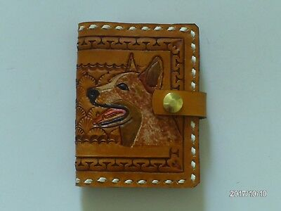 Hand Carved Leather Red Cattle Dog Buck Stitch Note Book Cover Aw Leather Goods