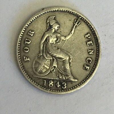 Antique 1843 Victorian Silver 4 Fourpence Coin Minting Error (Line Through 8)