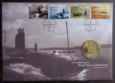 Gb 2001 One Hundred Years Of The Royal Navy Submarine Medallic Cover