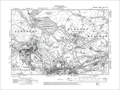 Northwich (N), Anderton, Wincham, Marston, old map Cheshire 1910: 34NW