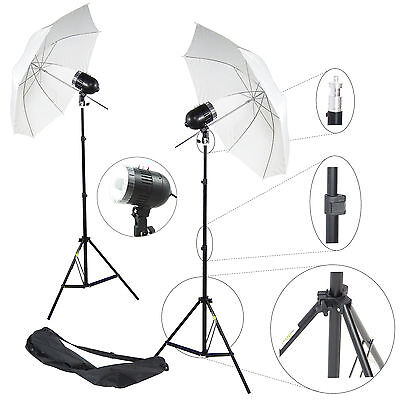 Kit 2x Éclairage Studio Barebulb Lampe DynaSun 2x SDW80 Flash Parapluie Trépied