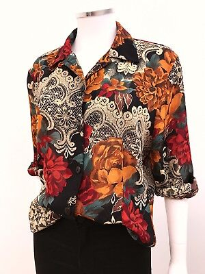 Vintage Womens Blouse Top 8 10 12 Blogger Autumn Colours Damask Floral Brocade