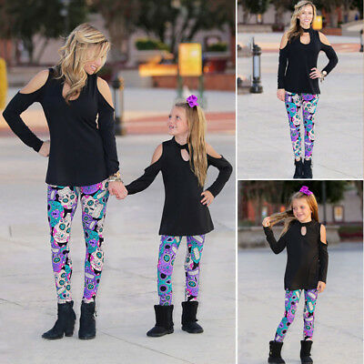 Boutique Mother Daughter Matching Outfits Women Girl Top T-Shirt Legging Clothes