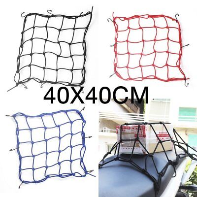 40x40 Scooter Motorcycle Hold Helmet Cargo Luggage Mesh Net Bungee 6 Hook GA