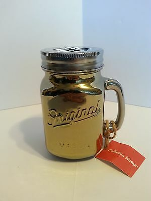 Collectible Gold Painted 16Oz. Pint Size Mason Jar/cup With Silvertone Lid