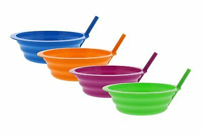 Arrow Sip-A-Bowl With Built In Straw, 22 oz, Blue, Pink, Green, Yellow (4 Pack)