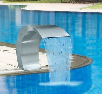 Water Feature Fountain Swimming Pool Garden Pond Waterfall Curved S'less Steel