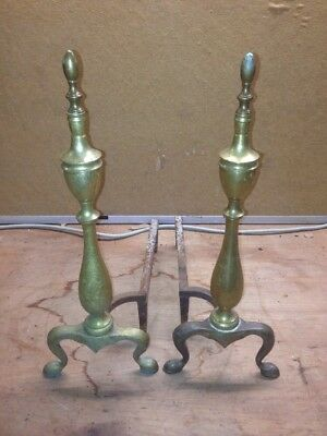 "Andirons Large Brass & Cast Iron 20"" High X 16"" VINTAGE FIREPLACE Set Of 2"