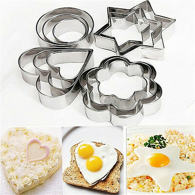 12X Stainless Steel Cookie Fondant Cake Biscuit Mold Mould Sugarcraft Cutter、