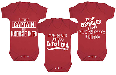 Set of 3 Manchester United Football Set Baby Vests Babygrow Football Baby Vests