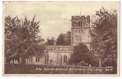 BARTON IN THE CLAY Parish Church, Old Postcard by Frith Postally Used 1955