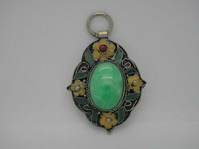 China handwork tibet-silver inlay old jade stone Cloisonne Flower Pendant yellow