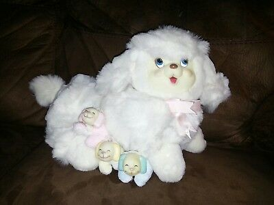 Vintage Dan Dee White Pregnant Momma Puppy Dog w/Surprise Puppies (p1)