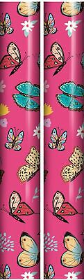 6m Female Floral Gift Wrapping Paper Roll - 2 x 3m - Baby Pink Birthday Flowers
