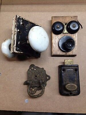 Lot of Vintage/Antique Door latches and other hardware -- 10 pcs total