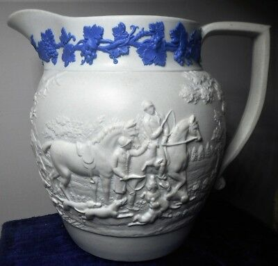 WEDGWOOD ONLY  WHITE STONEWARE JUG WITH THE HUNT PATTERN , c.1820