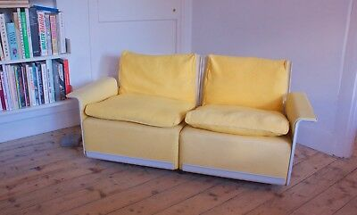 Vitsoe Two Seater 620 Sofa - Rare Yellow Wool Upholstery, Dieter Rams