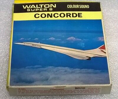 "Rare Walton Super 8mm film ""CONCORDE TEST FLIGHT""  colour & Sound 1976"