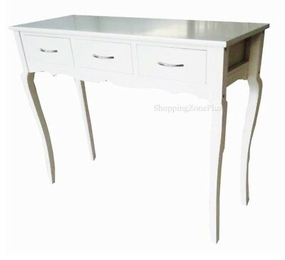 Shabby Chic 3 Drawer White Console Lobby Halls Table Side End Dressing Desk New
