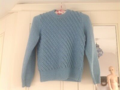 Vintage hand knitted blue bobbly jumper