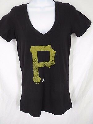 New Pittsburgh Pirates Women Sizes S L Xl 2xl Black Majestic V Neck