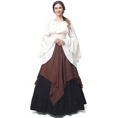 Medieval Renaissance Bell Sleeve Green Celtic Queen Gown Cosplay Dress Costume