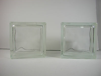 2 Vintage Architectural Wavy Glass Blocks - Bookends, Building, Craft Projects