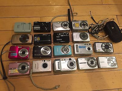 Lot of 17 Digital Cameras Canon Kodak Sony Casio Nikon Samsung
