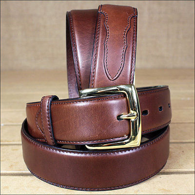 3D 50 x 1 1/2 INCH BROWN MEN'S WESTERN BASIC LEATHER BELT REMOVABLE BUCKLE