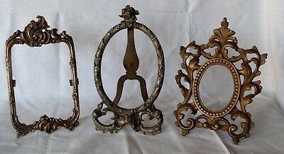 Antique lot of three photo frame holder art nouveau Edwardian solid bronze metal