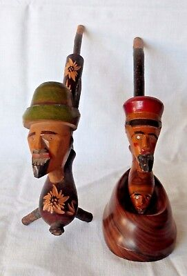 Lot of decorative vintage smoking pipe wooden hand carved bust /shape / portrait