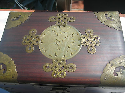 Estate Antique Chinese  Jewelry  Box Rosewood Brass  Carved Jade Flower Inlay