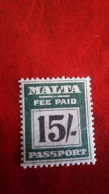 Malta's passport stamps FEE PAID 15/- deep green