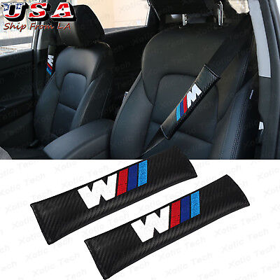 2x M Color Soft PU Leather Auto Seat Belt Shoulder Pad Cushions Cover for BMW