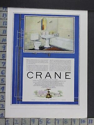 1925 Crane Faucet Sink Bathroom Kitchen Boy Bath Home Decor Vintage Ad  Cn96