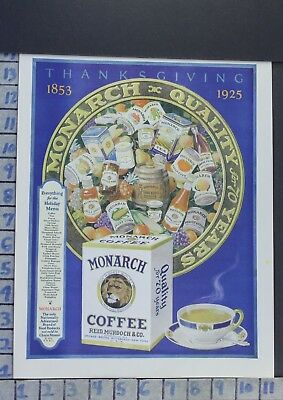 1925 Monarch Coffee Thanksgiving Food Kitchen Cook Bake Vintage Ad  Ca62