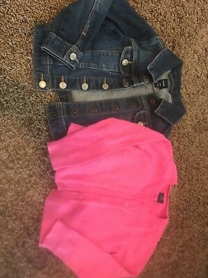 Baby Gap 3t Girls Lot Jean Jacket And Pink Cardigan Sweater