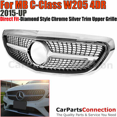 Diamond Style Front Grille Chrome For 2015-2017 MB W205 C-Class Trim Luxury Pk