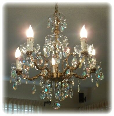 Vintage Chandelier Bronze Metal and Crystal 5 Arm Multi-color Tear Drop Prisms