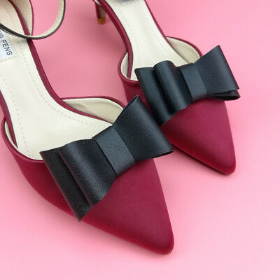 Fashion Faux Leather Decorative Black Bow Shoes Charm Jewelry Clip Pairs