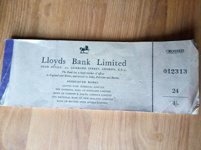 Lloyds Bank Cheque Book  1950s