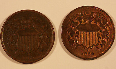 Lot of 2 Two-Cent Pieces 1865 (Fancy Five) and 1864 Large Motto Die Crack Error