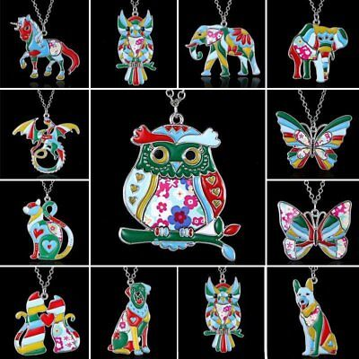 Women Silver Plated Printing Enamel Animal Dog Cat Elephant Butterfly Necklace