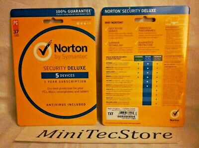Norton Internet Security Antivirus  Deluxe 5 Devices 1 Year Win Mac Android iOS